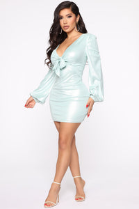 You Got Me Suede Mini Dress - Mint Angle 3