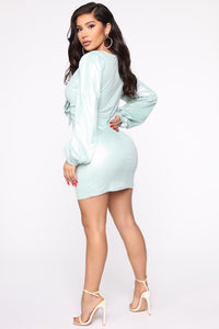 You Got Me Suede Mini Dress - Mint Angle 4
