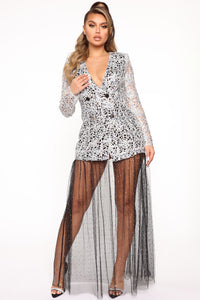 Queen In The Making Maxi Dress - Silver/Black Angle 1