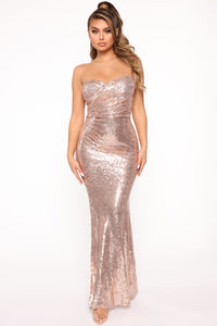 Sequin Goddess Mermaid Maxi Dress - Bronze