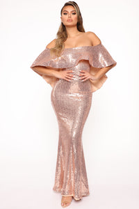 Radiant Sequin Maxi Dress - Champagne Angle 1