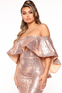 Radiant Sequin Maxi Dress - Champagne Angle 2