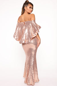 Radiant Sequin Maxi Dress - Champagne Angle 3