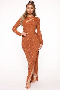 Pearly World Maxi Dress - Cognac