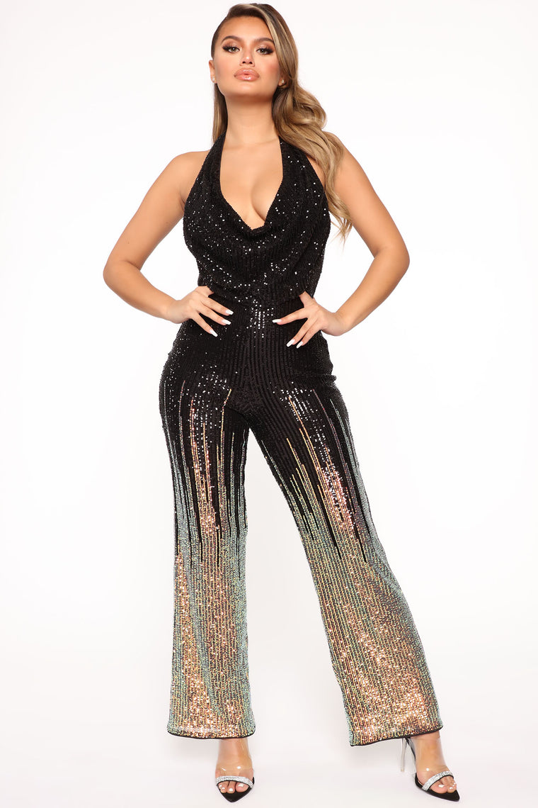 In The Glow Sequin Jumpsuit - Black/Gold