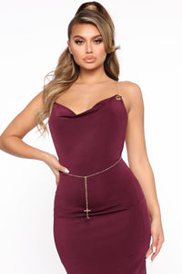 Chain the Game Maxi Dress - Plum Angle 2