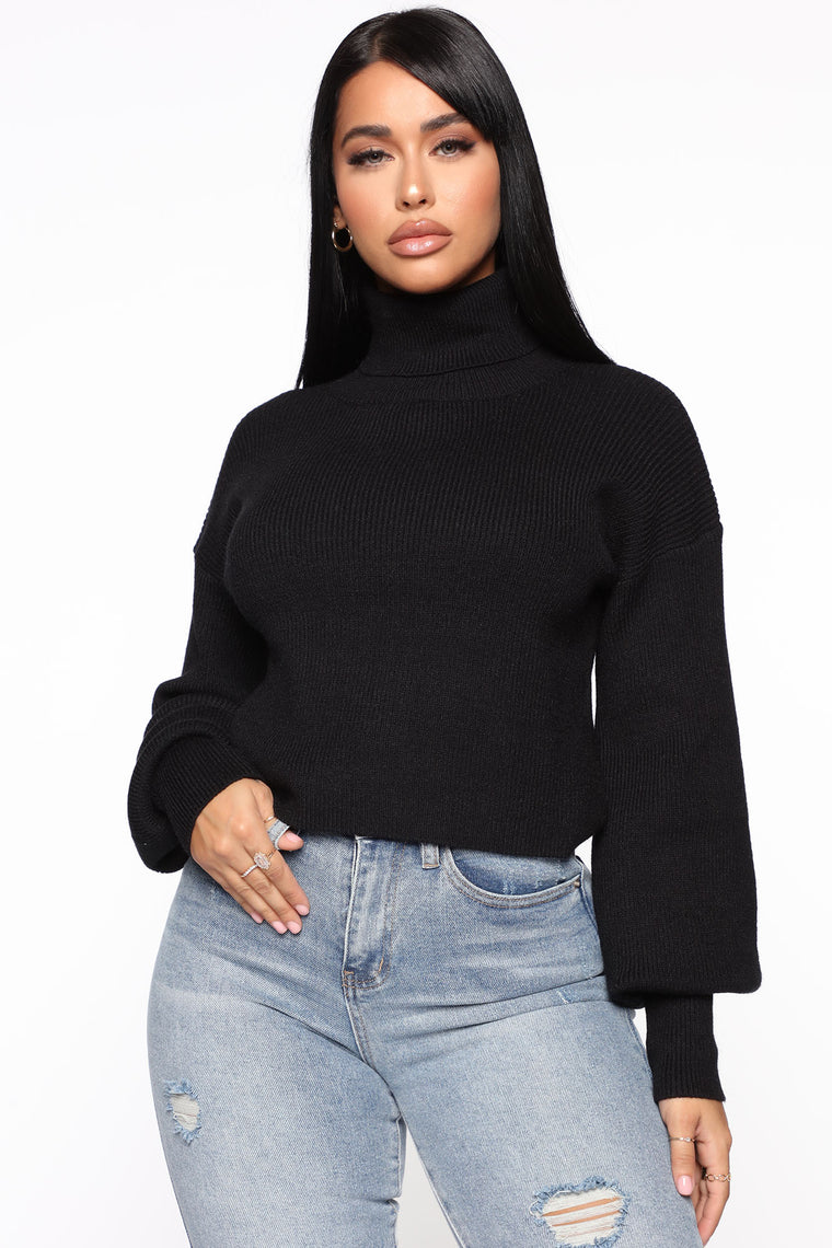 Won't Stop Loving You Turtleneck Sweater - Black