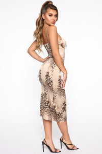 Wild Emotions Satin Midi Dress - Brown/Combo