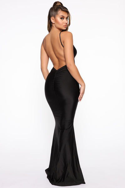 Mermaid Ruched Open-Back Maxi Dress
