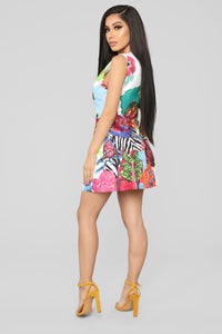 She's A Work Of Art Mini Dress - White/Multi