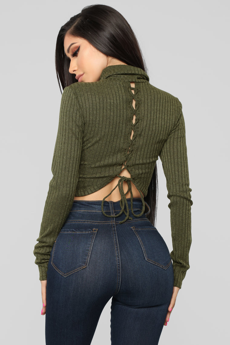 Party In The Back Top - Olive