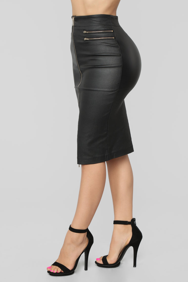 In The Dark Faux Leather Skirt - Black