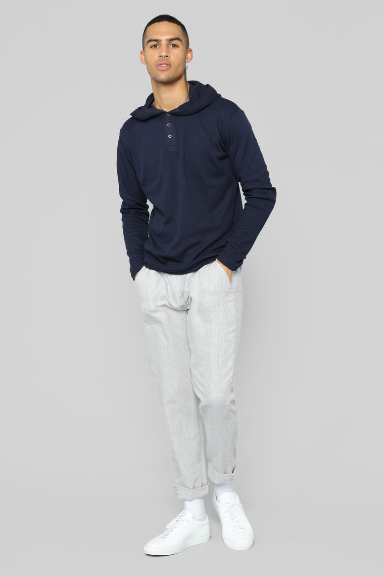 Anderson Long Sleeve Hooded Henley Top - Navy