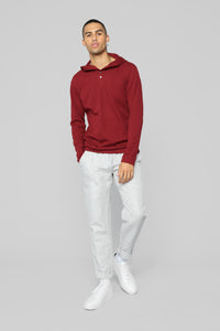 Anderson Long Sleeve Hooded Henley Top - Red