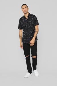 Creed Short Sleeve Woven Top - Black