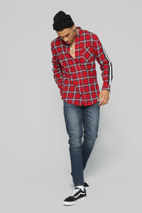 Reno Long Sleeve Flannel - Red/Black Angle 2