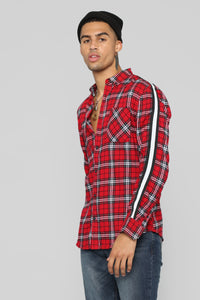 Reno Long Sleeve Flannel - Red/Black Angle 1