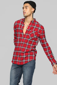 Reno Long Sleeve Flannel - Red/Black Angle 3