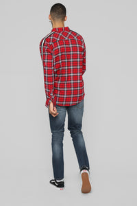 Reno Long Sleeve Flannel - Red/Black Angle 5