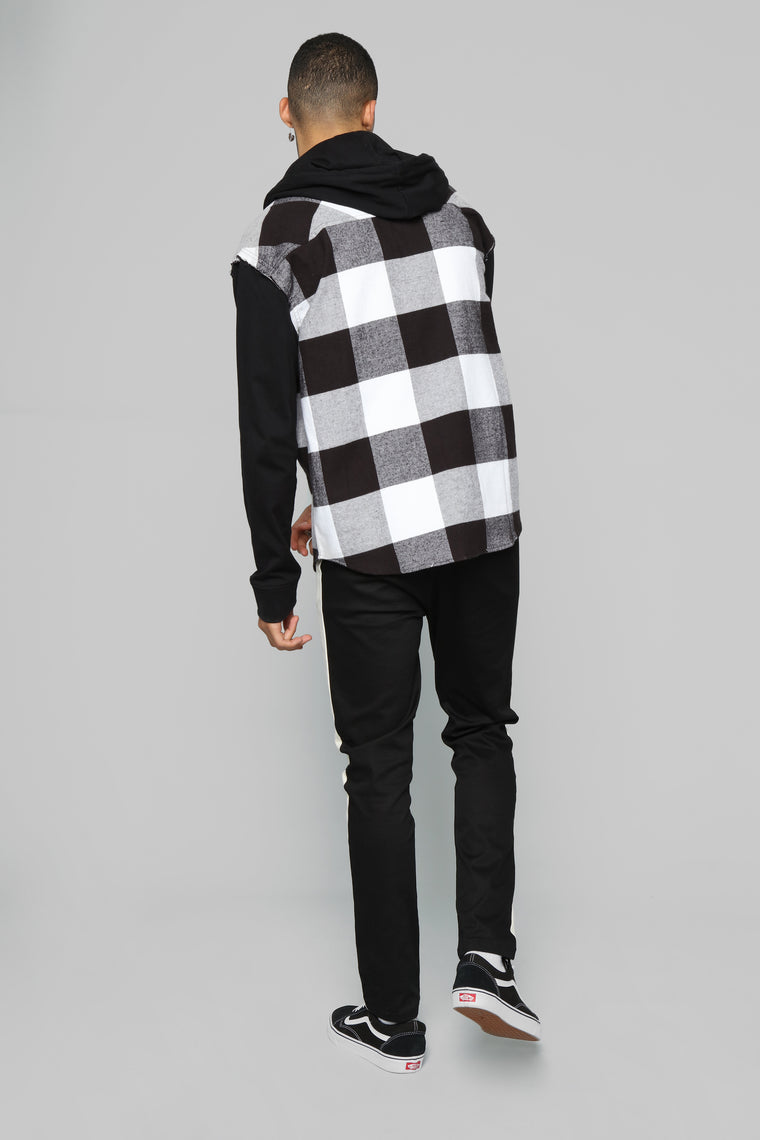 No Connection Long Sleeve Hooded Flannel Top - White/Black