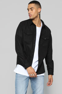 Frederick Long Sleeve Flannel Top - Black