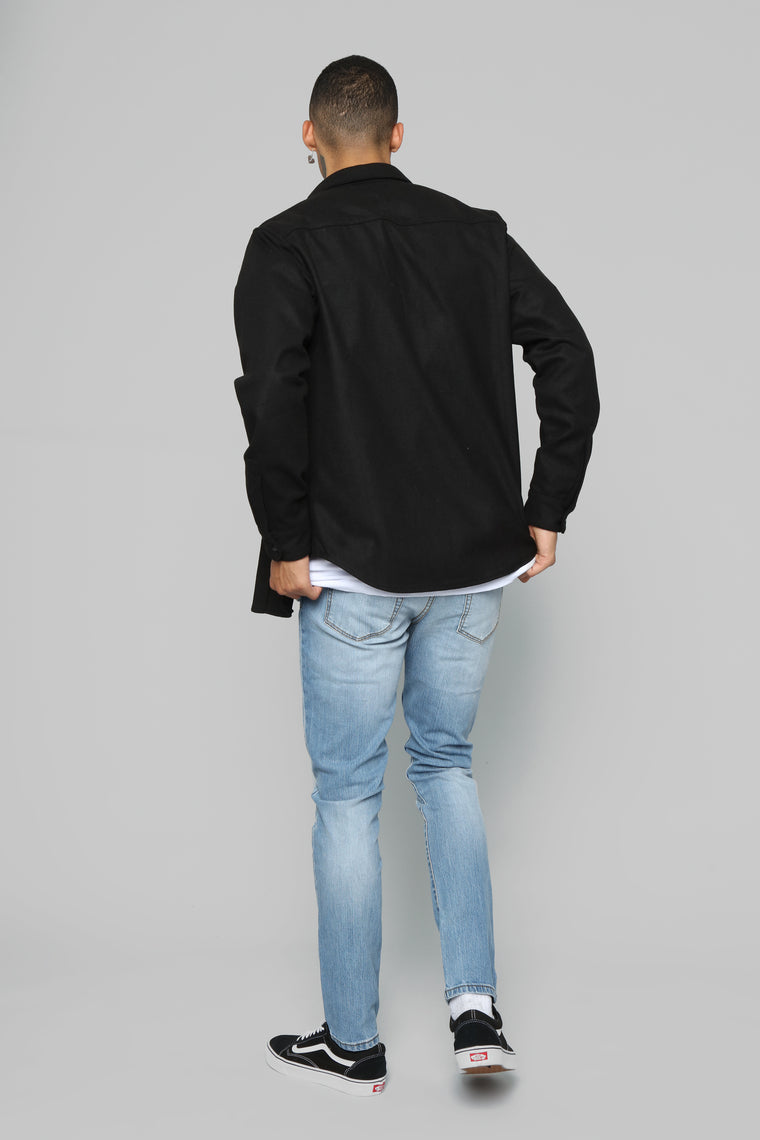 Frederick Long Sleeve Woven Top - Black