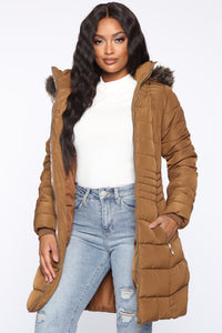 Next Level Winter Puffer Jacket - Brown Angle 1