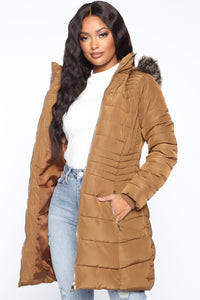 Next Level Winter Puffer Jacket - Brown Angle 3