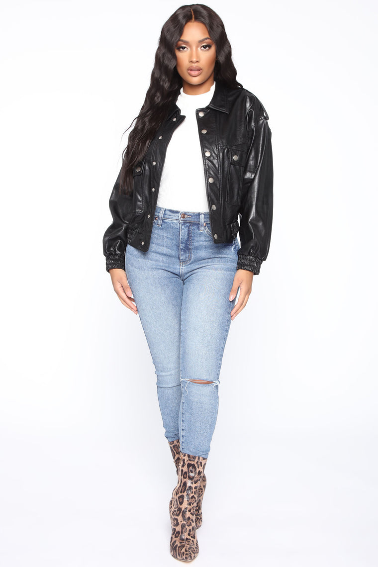 In A Rush PU Leather Jacket - Black
