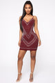 Diamond Diva Rhinestone Mini Dress - Burgundy