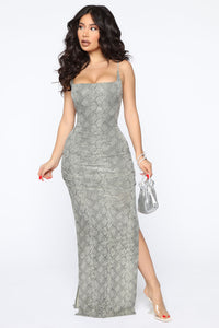 My Own Vibe Snake Sequin Maxi Dress - Olive Angle 1