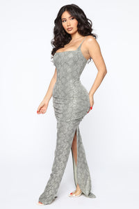 My Own Vibe Snake Sequin Maxi Dress - Olive Angle 3