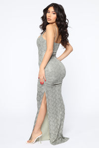 My Own Vibe Snake Sequin Maxi Dress - Olive Angle 4