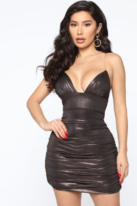 Nothing Can Stop Me Mini Dress - Bronze
