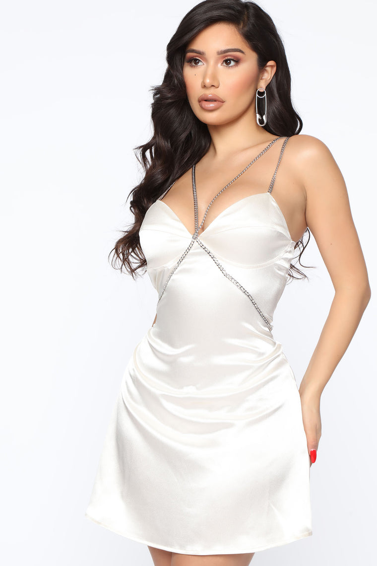 Call Me Sometime Satin Mini Dress - Ivory