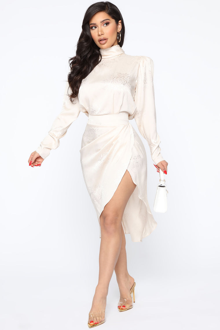 Subtle Shades Satin Midi Dress   Cream by Fashion Nova