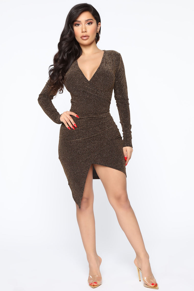 Shine Like A Star Mini Dress   Gold by Fashion Nova