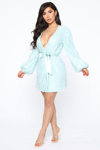 Always Slaying Sequin Wrap Mini Dress - Mint Angle 3