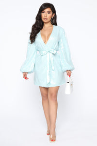 Always Slaying Sequin Wrap Mini Dress - Mint Angle 2