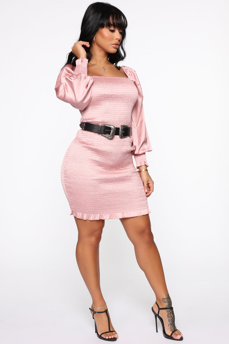 Western Woman Smocked Midi Dress - Pink