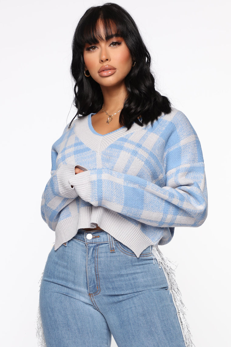 Living The Comfy Life Cropped Sweater Blue