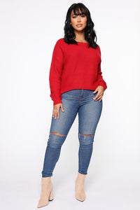 Lia Lace Up Back Sweater - Red
