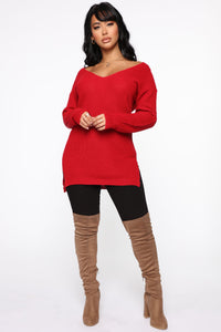 Georgina Caged Back Sweater - Red Angle 2