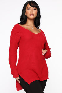 Georgina Caged Back Sweater - Red Angle 1
