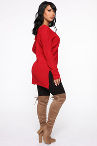 Georgina Caged Back Sweater - Red Angle 4