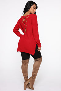 Georgina Caged Back Sweater - Red Angle 5