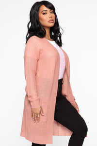 Throw It On Ribbed Cardigan - Mauve