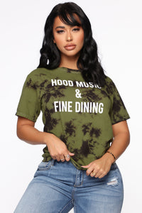 Hood Music Tunic Top - Olive Combo