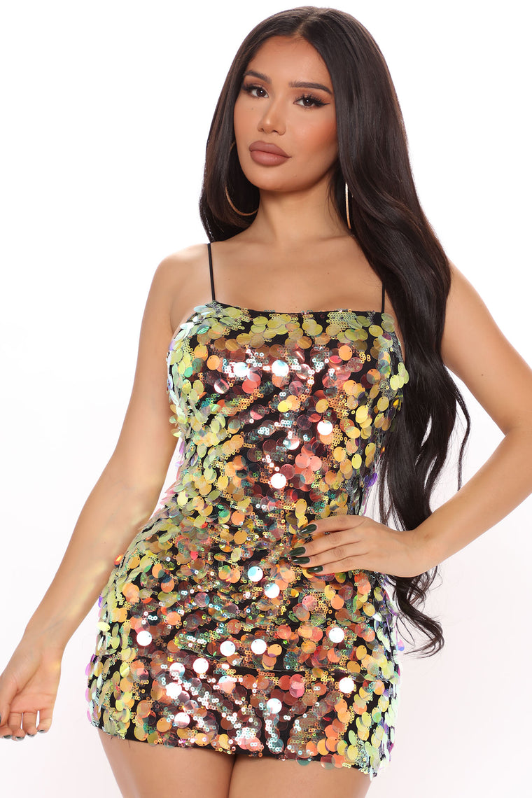 Flirty Fun Sequin Mini Dress - Black