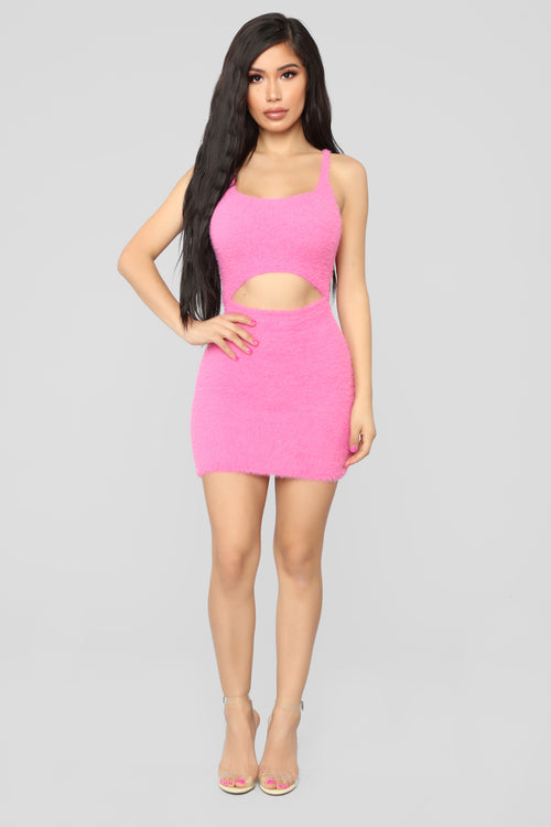 Cut To The Chase Fuzzy Dress - Pink